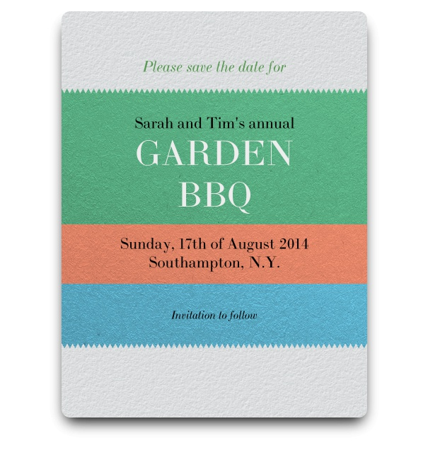 Save the Date card with blue-orange-turquoise text space for the details.