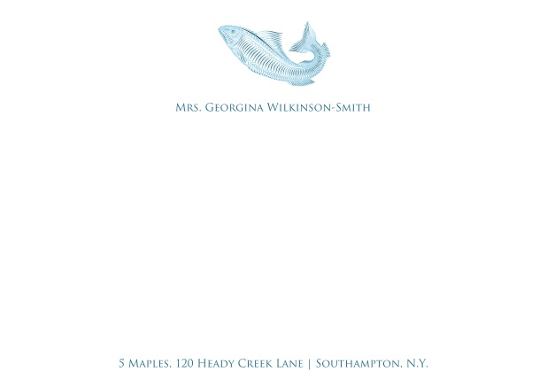 White online correspondence card with blue fish and text.