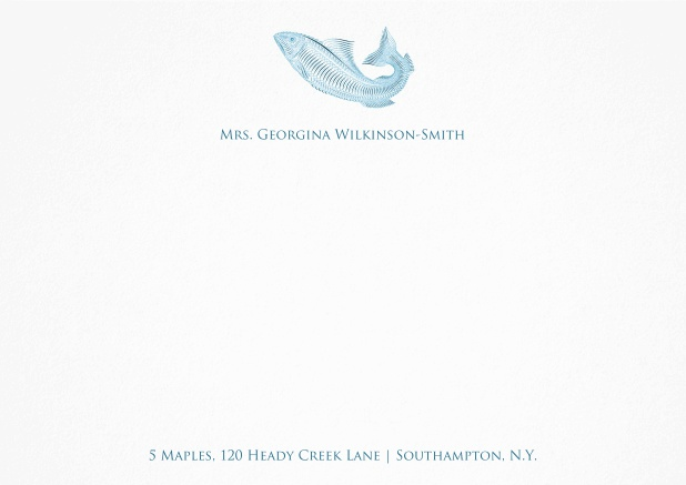White correspondence card with blue fish and text.