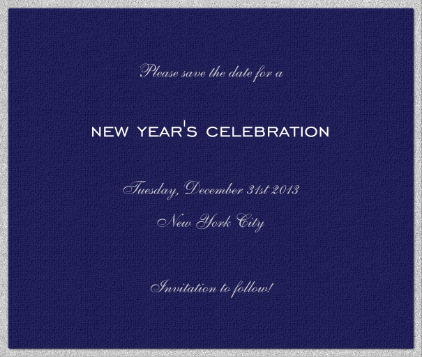 Dark Blue Celebration Save the Date Card with Silver Border.
