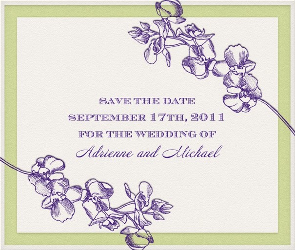 Save the Date Card with green border and purple flowers.