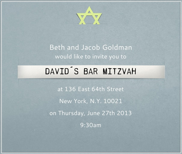 Blue-Grey  Bar Mitzvah Invitation or Bat Mitzvah Invitation with border and yellow Star of David.