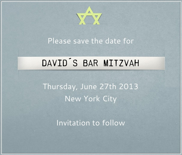 Blue Bar Mitzvah or Bat Mitzvah save the date template with star of David and customizable text.