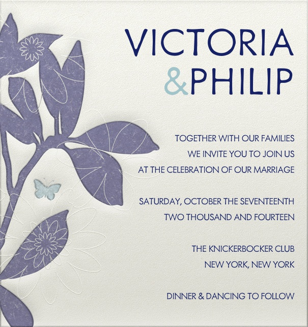 Beige Wedding Invitation with blue text and blue floral border and engraved design.