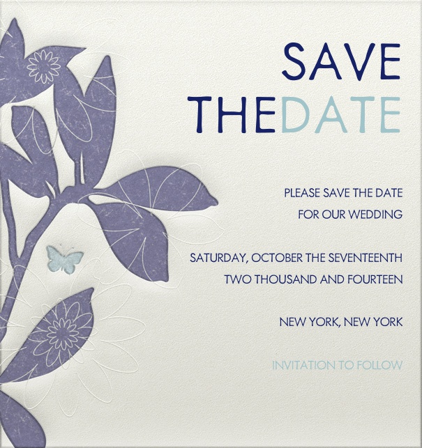 Beige Wedding Save the Date online designed with Blue text and blue floral border and engraved design.