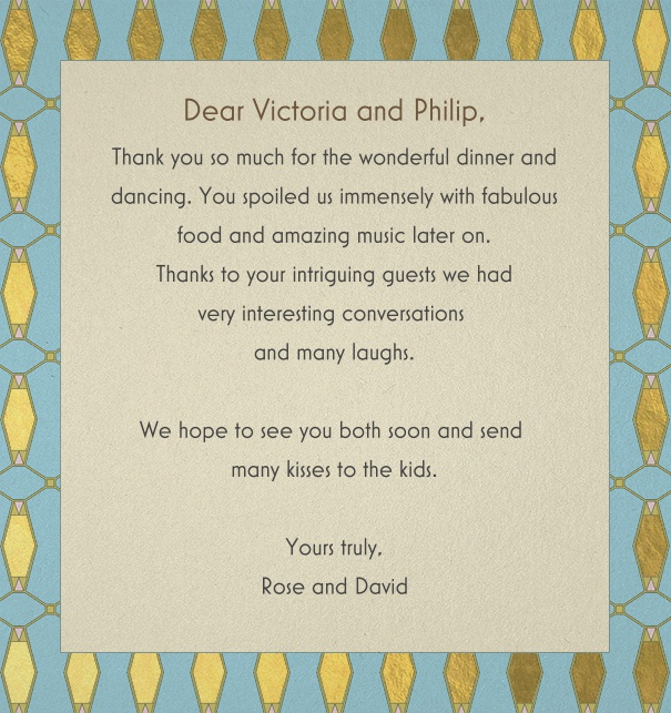 Formal online card with an Art Deco patterned border of turquoise blue and gold flake.