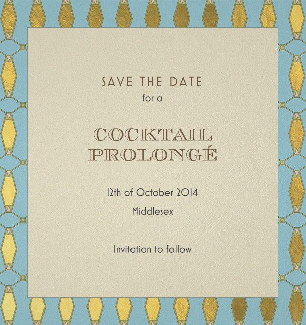 Dark Blue Online Save the Date with Art-Deco Border and green and blue border.