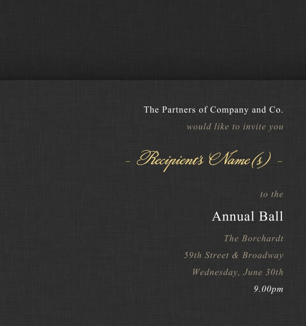 Black Formal Corporate Invitation Online, perfect as an Anniversary Invitation or a Corporate Event invitation.