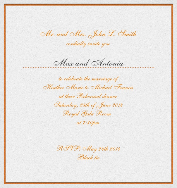 Rectangular, white, classic Wedding invitation Card with red text and space for recipient names.