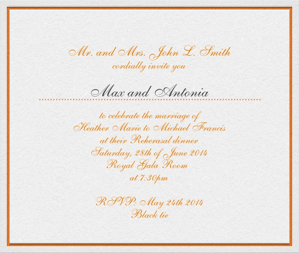 White, classic Wedding Invitation Card with red text and space for recipient names.