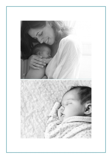 Photo card with two photo fields and boarder which is in several colors available Blue.