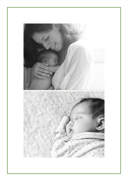 Photo card with two photo fields and boarder which is in several colors available Green.