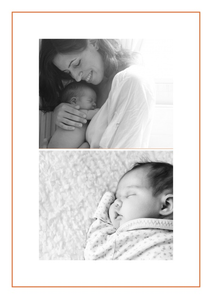 Photo card with two photo fields and boarder which is in several colors available Orange.