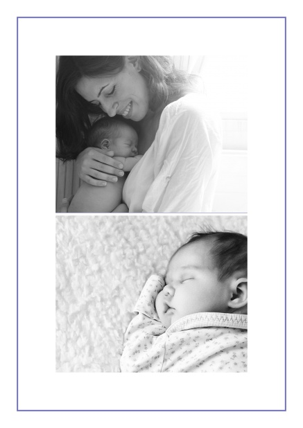 Photo card with two photo fields and boarder which is in several colors available Purple.