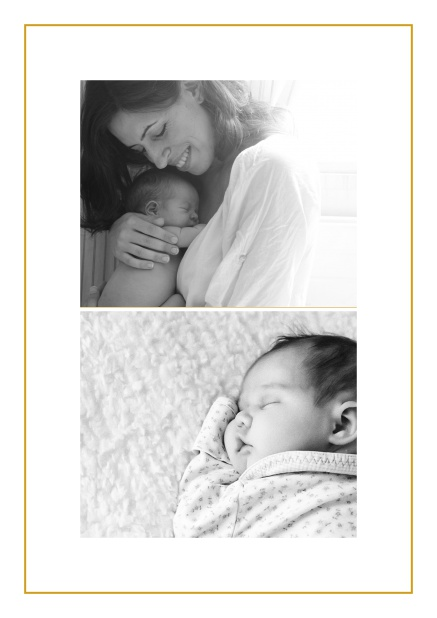 Photo card with two photo fields and boarder which is in several colors available Yellow.