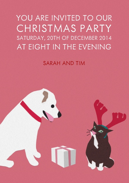 Pink Christmas card with dog and cat giving each other presents.