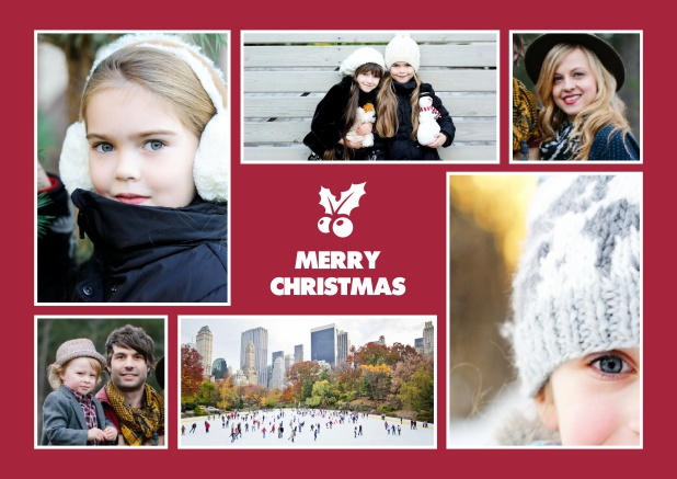 Christmas card with six photo fields around a red design element.
