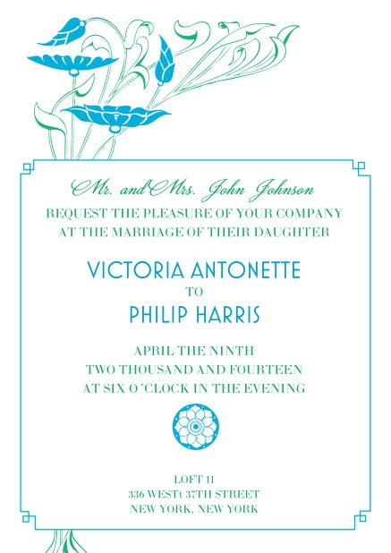 Online wedding invitation card with blue flower decoration.