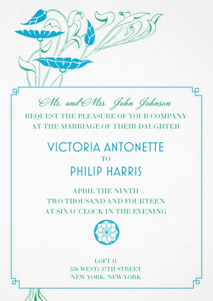 Wedding invitation card with blue flower decoration.