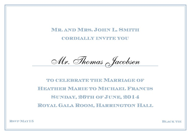 Online Classic invitation card with thin double frame and classic font - available in different colors. Blue.