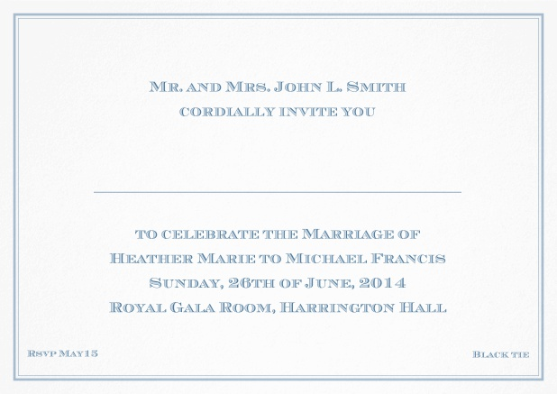 Classic invitation card with thin double frame and classic font - available in different colors. Blue.