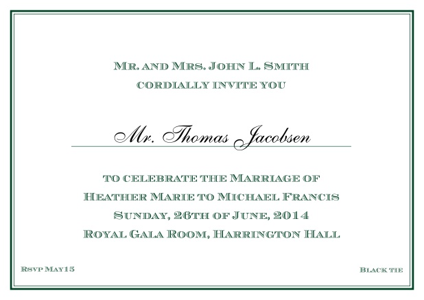 Online Classic invitation card with thin double frame and classic font - available in different colors. Green.