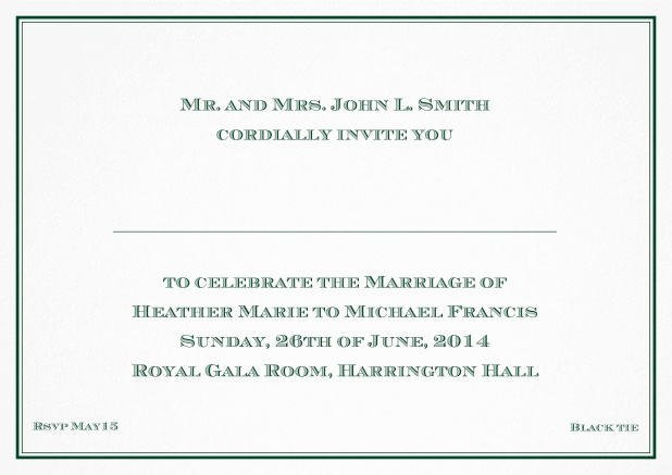 Classic invitation card with thin double frame and classic font - available in different colors. Green.