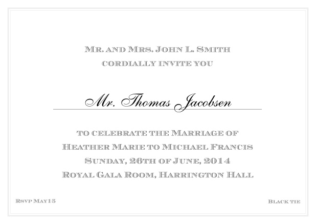 Online Classic invitation card with thin double frame and classic font - available in different colors. Grey.