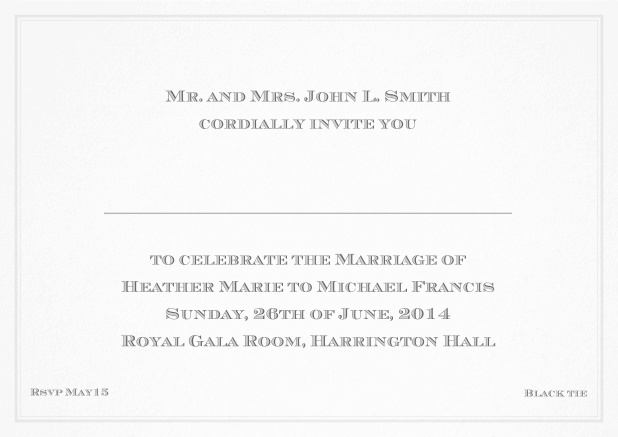 Classic invitation card with thin double frame and classic font - available in different colors. Grey.