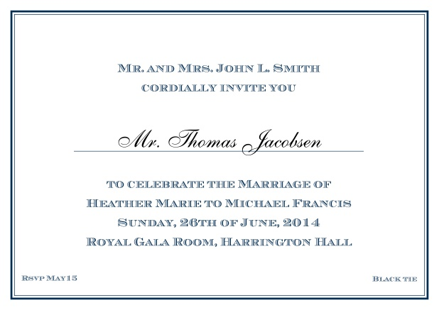 Online Classic invitation card with thin double frame and classic font - available in different colors. Navy.