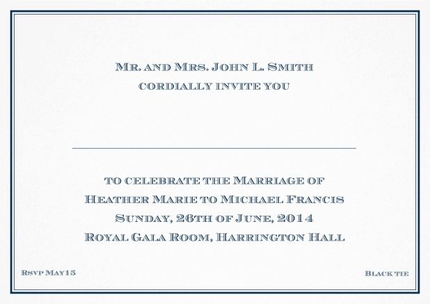 Classic invitation card with thin double frame and classic font - available in different colors. Navy.