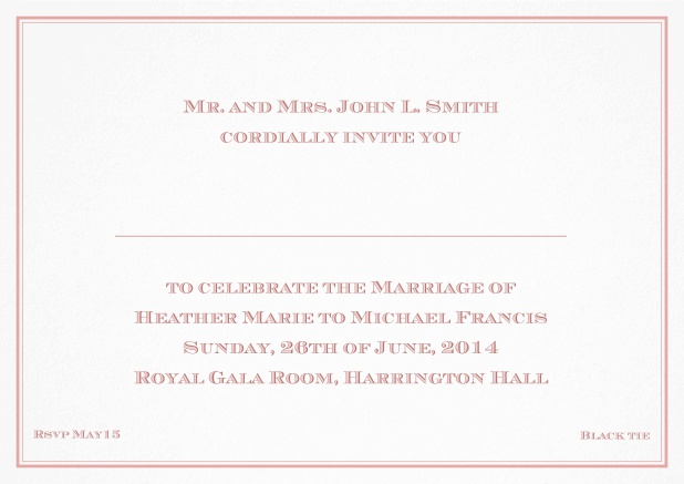 Classic invitation card with thin double frame and classic font - available in different colors. Pink.