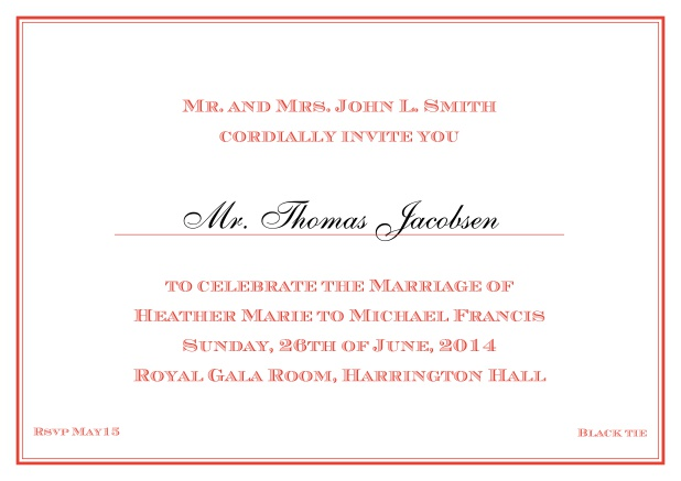 Online Classic invitation card with thin double frame and classic font - available in different colors. Red.