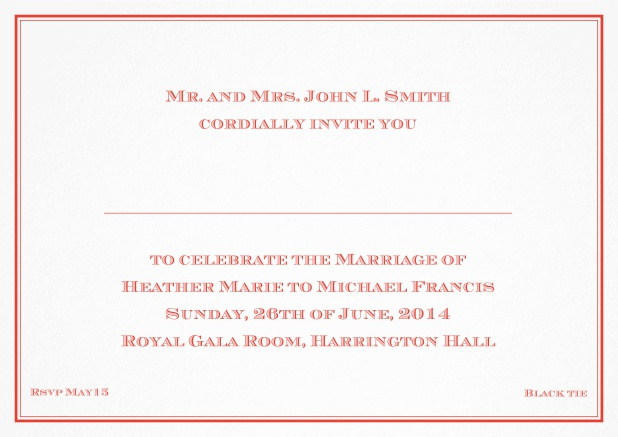Classic invitation card with thin double frame and classic font - available in different colors. Red.