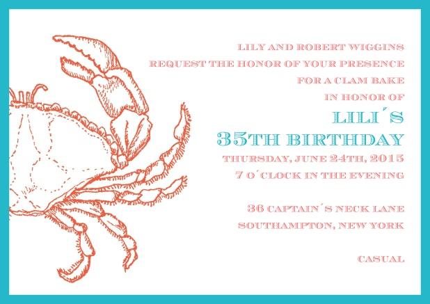 Online invitation card with frame and crab.