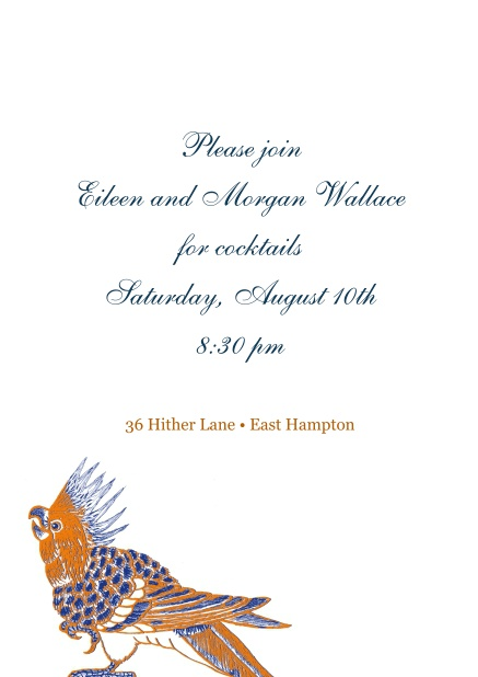 Online invitation with colorful bird on bottom.