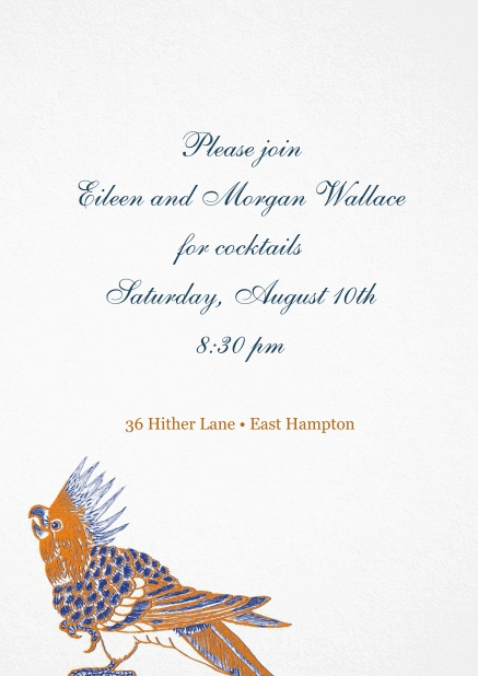 Invitation with colorful bird on bottom.