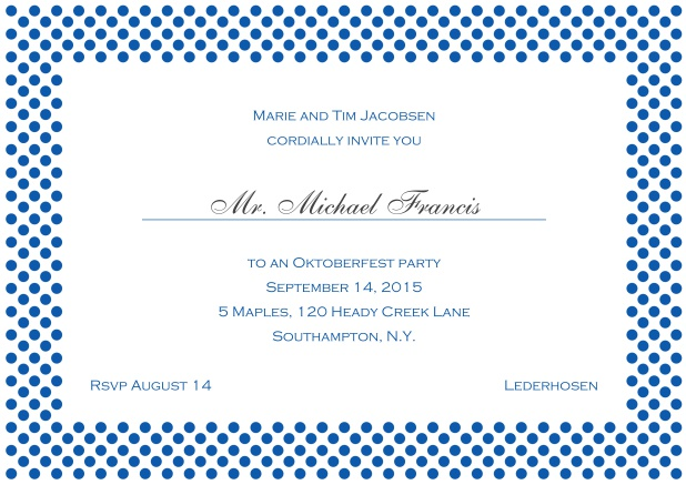 Classic online landscape invitation card with small poka dotted frame and editable text. Blue.