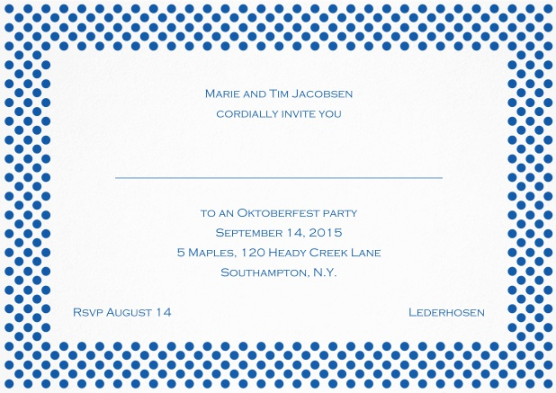 Classic landscape invitation card with small poka dotted frame and editable text. Blue.