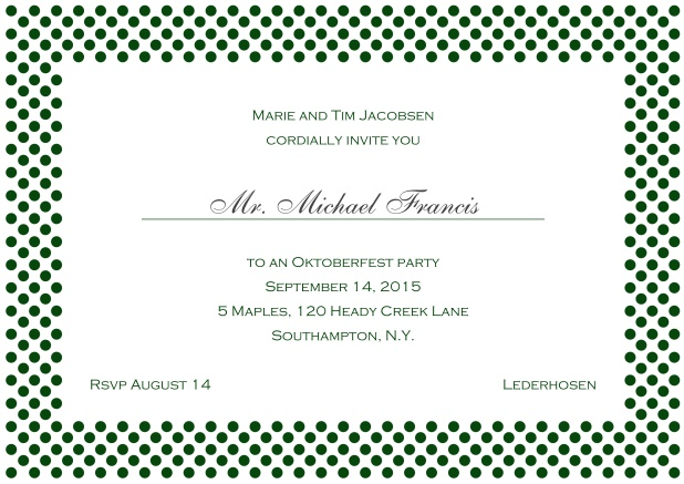 Classic online landscape invitation card with small poka dotted frame and editable text. Green.