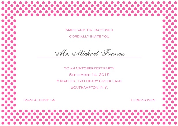 Classic online landscape invitation card with small poka dotted frame and editable text. Pink.