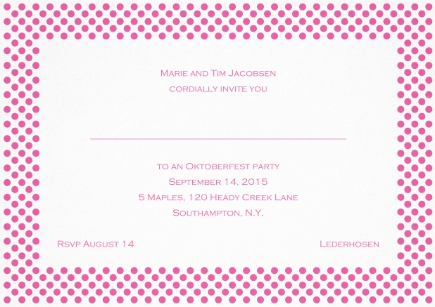 Classic landscape invitation card with small poka dotted frame and editable text. Pink.