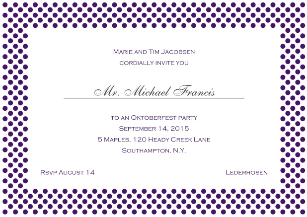 Classic online landscape invitation card with small poka dotted frame and editable text. Purple.