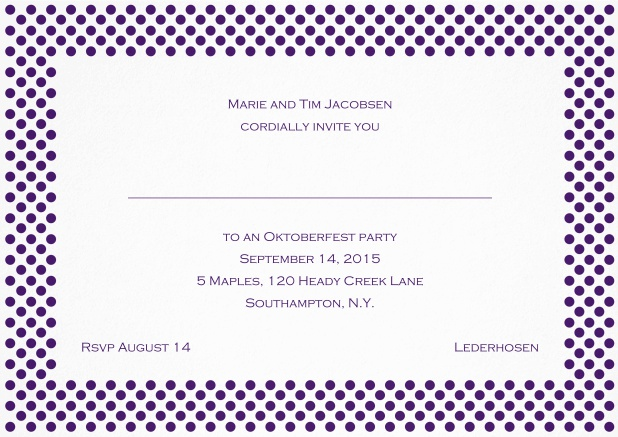 Classic landscape invitation card with small poka dotted frame and editable text. Purple.