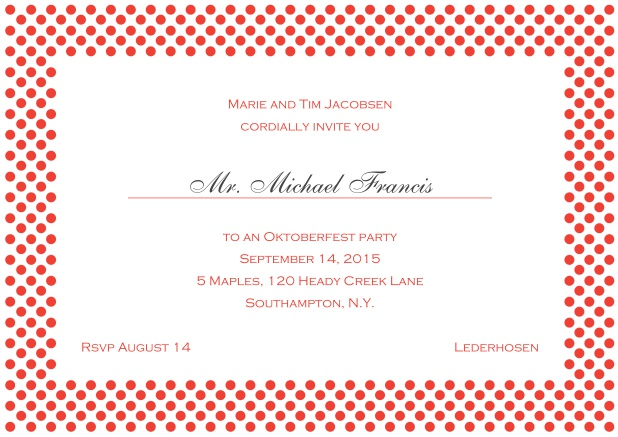 Classic online landscape invitation card with small poka dotted frame and editable text. Red.