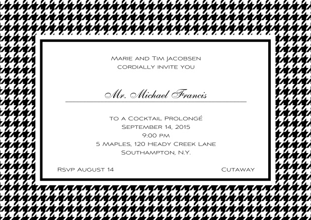 Classic landscape online invitation card with modern bavarian frame, editable text and line for personal addressing. Black.