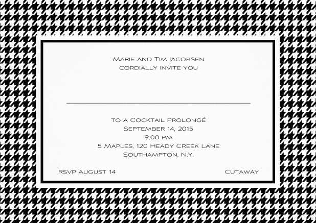 Classic landscape invitation card with modern bavarian frame, editable text and line for personal addressing. Black.