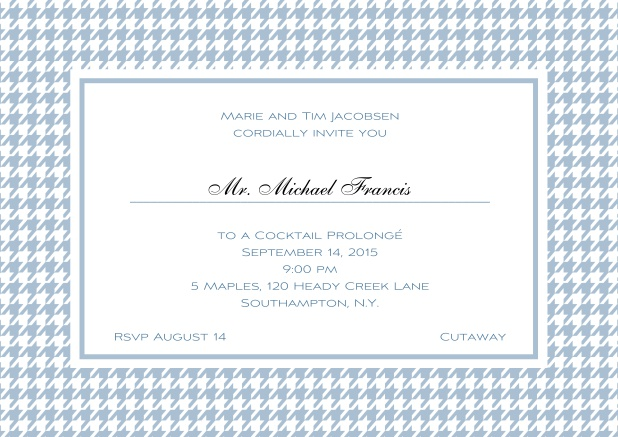 Classic landscape online invitation card with modern bavarian frame, editable text and line for personal addressing. Blue.