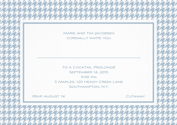 Classic landscape invitation card with modern bavarian frame, editable text and line for personal addressing. Blue.