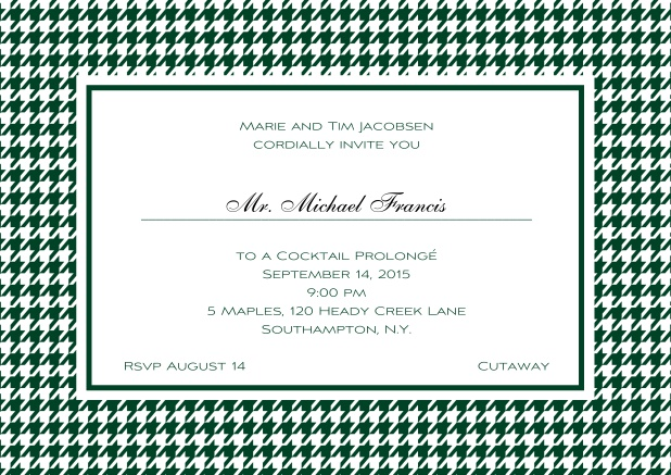 Classic landscape online invitation card with modern bavarian frame, editable text and line for personal addressing. Green.